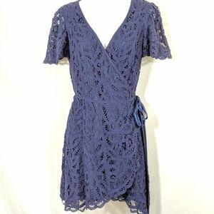Betsey Johnson Purple Lace Wrap Dress